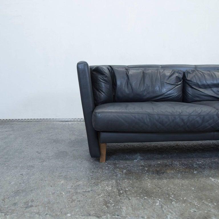 leolux designer leather sofa two seat black couch modern. Black Bedroom Furniture Sets. Home Design Ideas