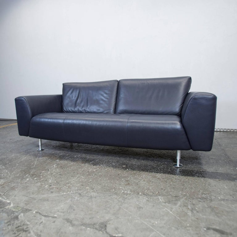 Rolf Benz Designer Leather Sofa Black Blue Three Seat