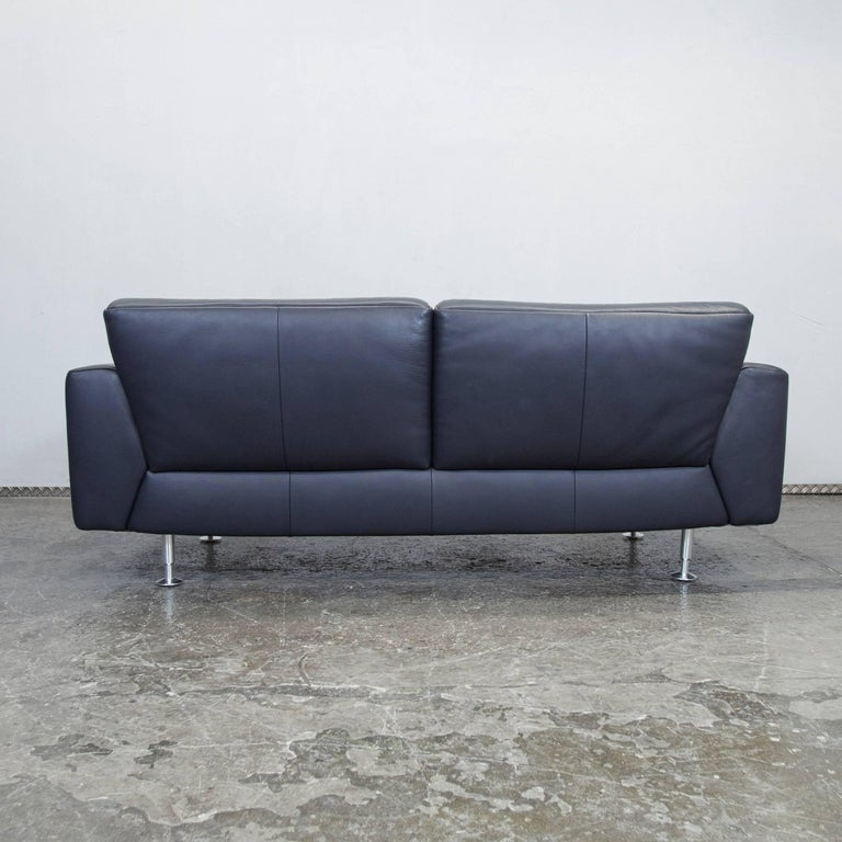 rolf benz designer leather sofa black blue three seat couch modern for sale at 1stdibs. Black Bedroom Furniture Sets. Home Design Ideas