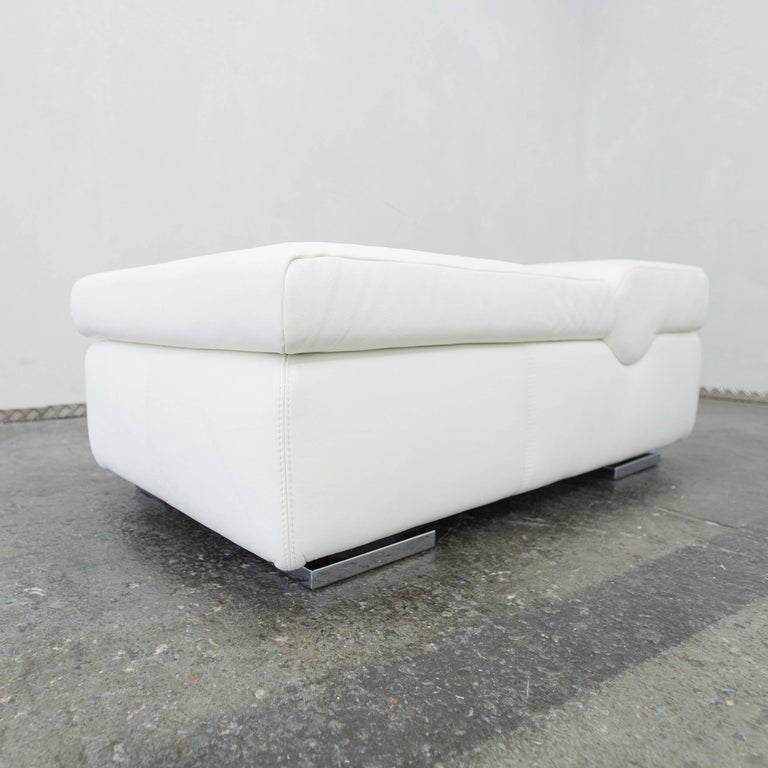 musterring designer leather footstool white sofa couch pouff one seat modern at 1stdibs. Black Bedroom Furniture Sets. Home Design Ideas