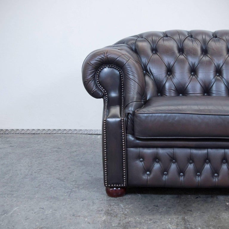 Chesterfield sofa modern braun  Centurion Chesterfield Leather Sofa Two-Seat Brown Vintage Modern ...