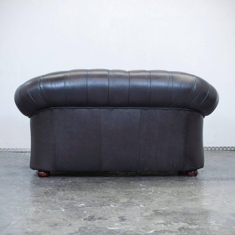 centurion chesterfield leather sofa two seat brown vintage modern for sale at 1stdibs. Black Bedroom Furniture Sets. Home Design Ideas