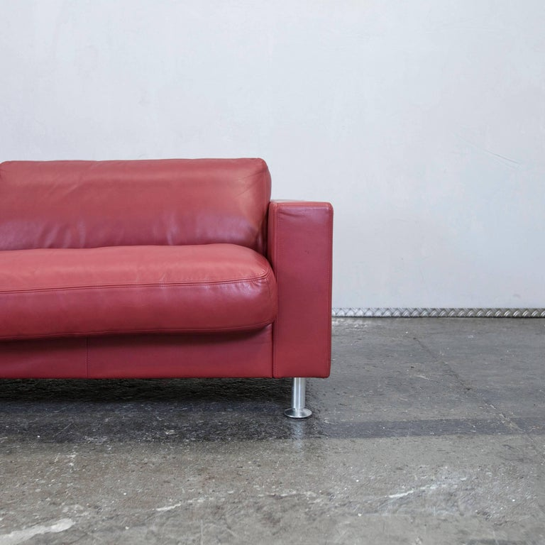 Rolf benz basix designer leather sofa red three seat couch - Rolf benz leder ...