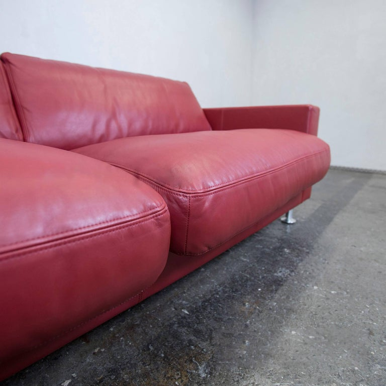 Rolf Benz Basix Designer Leather Sofa Red Three-Seat Couch Modern at ...