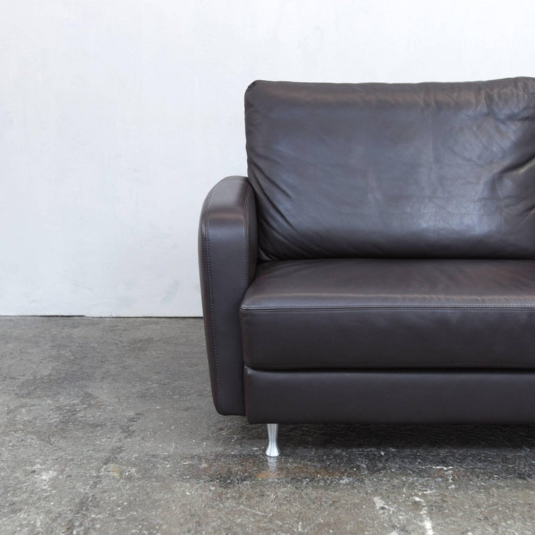 ewald schillig designer sofa brown leather three seat couch modern at 1stdibs. Black Bedroom Furniture Sets. Home Design Ideas