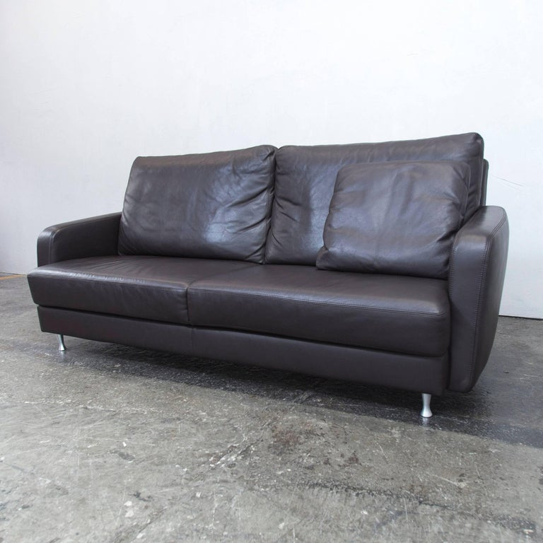 ewald schillig designer sofa brown leather three seat. Black Bedroom Furniture Sets. Home Design Ideas