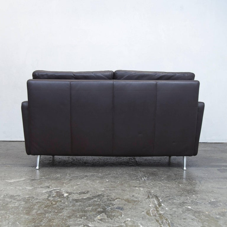 ewald schillig designer sofa brown leather two seat couch modern at 1stdibs. Black Bedroom Furniture Sets. Home Design Ideas