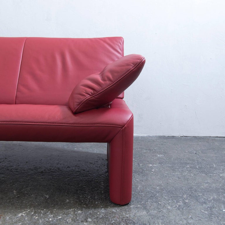 Jori Designer Sofa Red Leather Two-Seat Couch Function Modern at 1stdibs