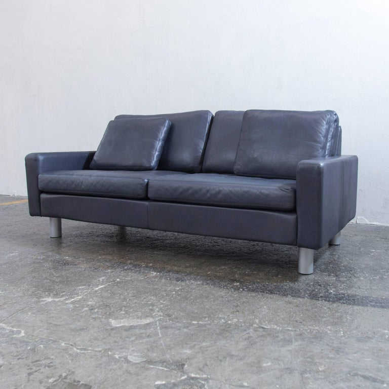 cor conseta designer sofa blue leather two seat couch. Black Bedroom Furniture Sets. Home Design Ideas