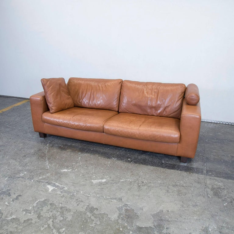machalke designer leather sofa brown three seat couch modern at 1stdibs. Black Bedroom Furniture Sets. Home Design Ideas