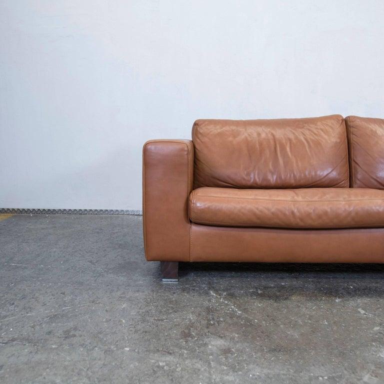 machalke designer leather sofa brown three seat couch. Black Bedroom Furniture Sets. Home Design Ideas