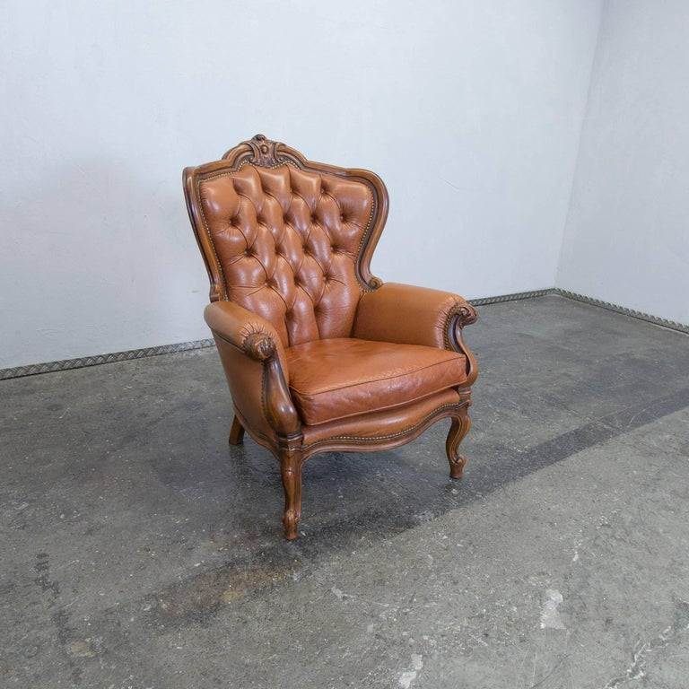 chesterfield leather chair light brown one seat vintage. Black Bedroom Furniture Sets. Home Design Ideas
