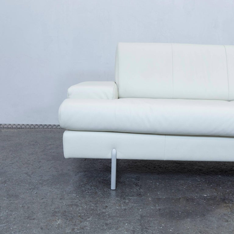 Rolf Benz Designer Leather Sofa White Three Seat Couch