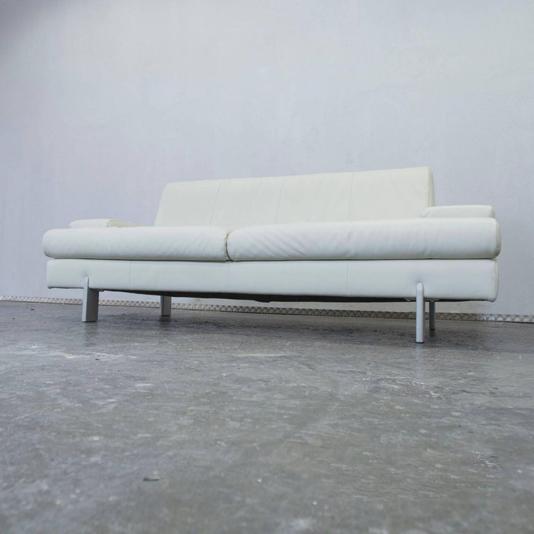 rolf benz designer leather sofa white three seat couch. Black Bedroom Furniture Sets. Home Design Ideas