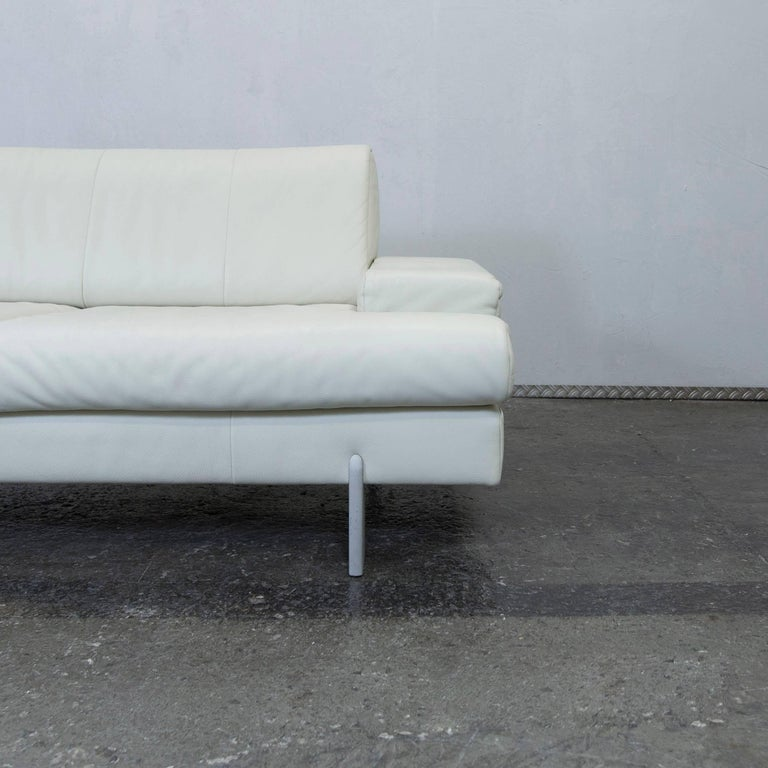 rolf benz designer leather sofa white two seat couch. Black Bedroom Furniture Sets. Home Design Ideas
