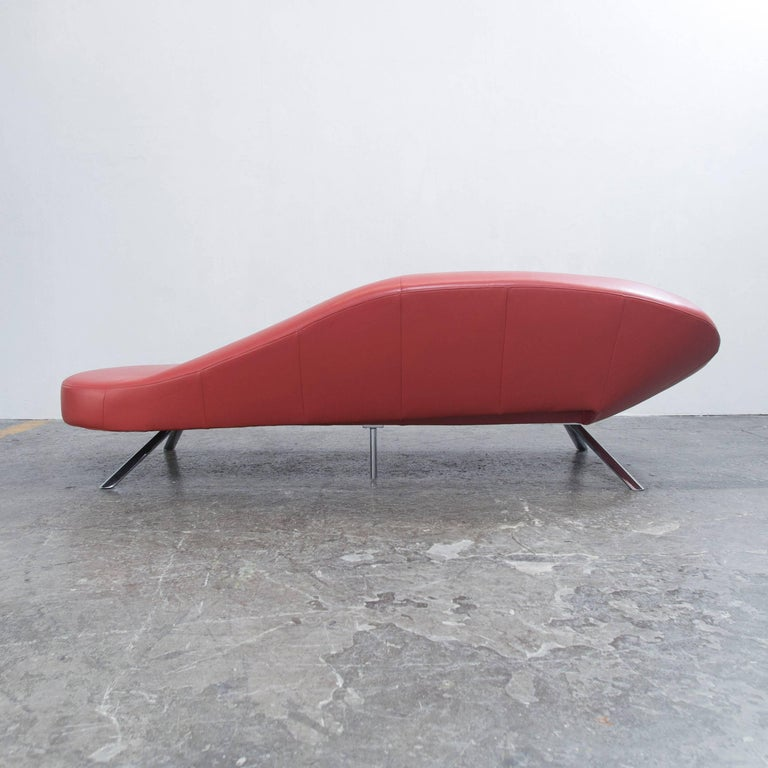 ewald schillig fly designer sofa red leather modern at 1stdibs. Black Bedroom Furniture Sets. Home Design Ideas
