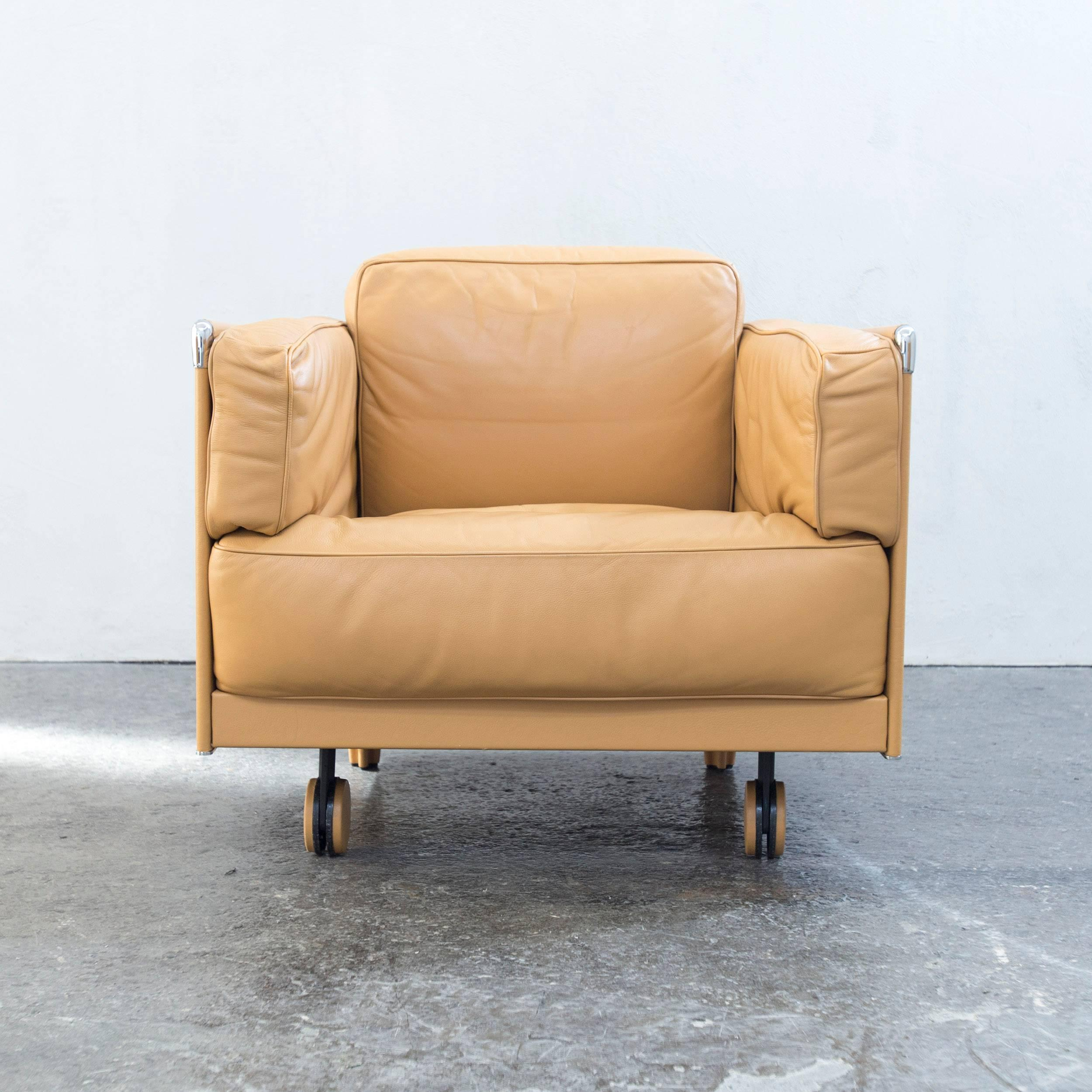 Mustard Yellow Colored Original Poltrona Frau Twice 1999 Designer Leather  Chair In A Minimalistic And Modern