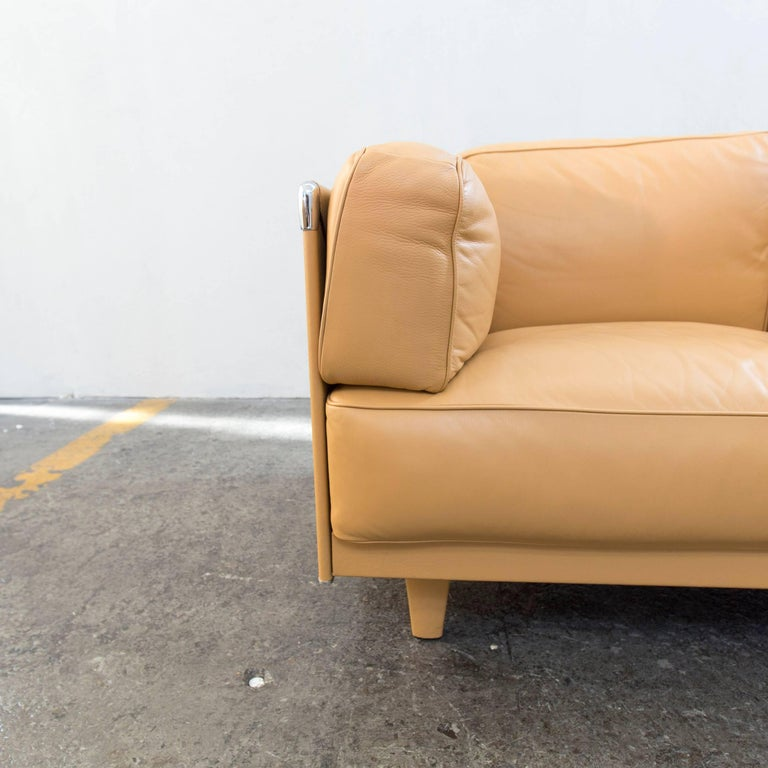 Yellow Modern Leather Sofas: Poltrona Frau Twice 1999 Designer Sofa Leather Mustard