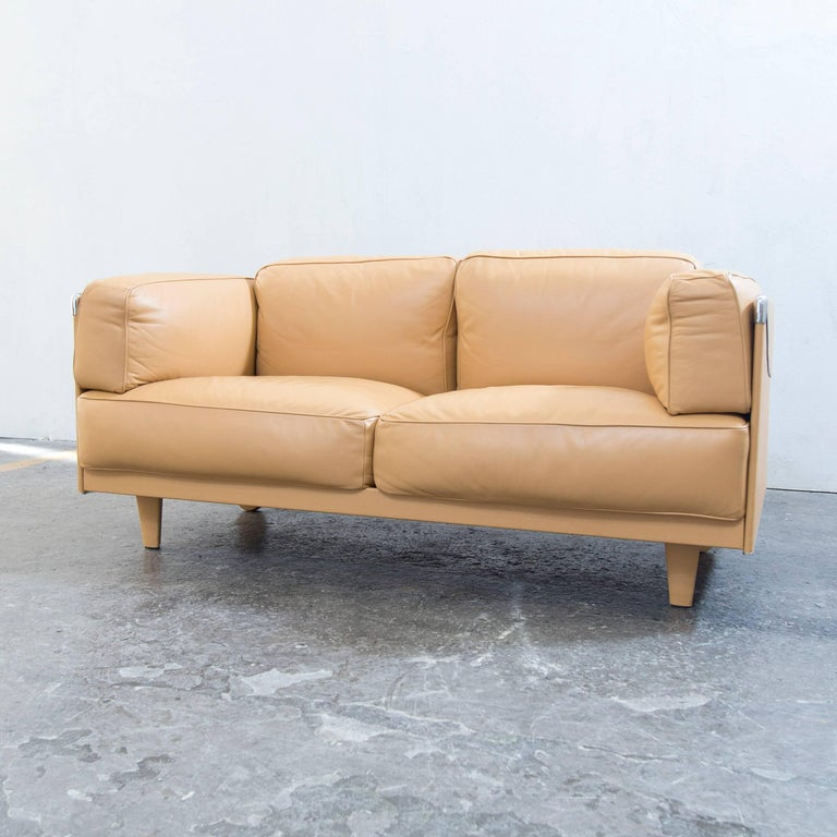 Designer couch leder  Poltrona Frau Twice 1999 Designer Sofa Leather Mustard Yellow Two ...