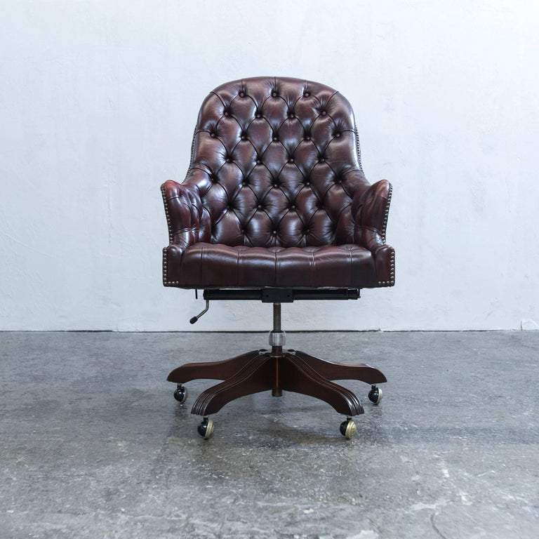 wade chesterfield leather revolving chair brown retro vintage at 1stdibs. Black Bedroom Furniture Sets. Home Design Ideas