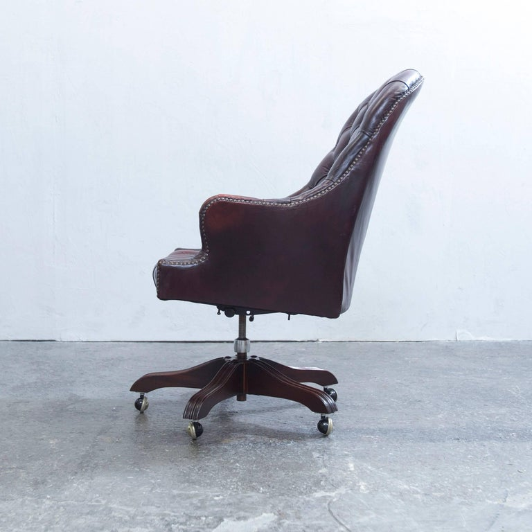 Wade Chesterfield Leather Revolving Chair Brown Retro Vintage 4