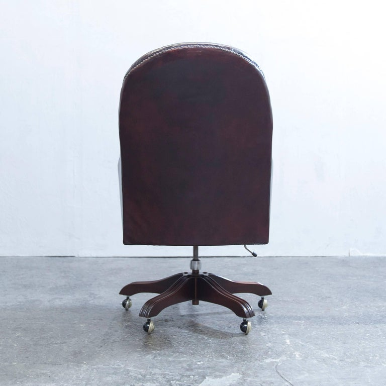 Wade Chesterfield Leather Revolving Chair Brown Retro Vintage 5