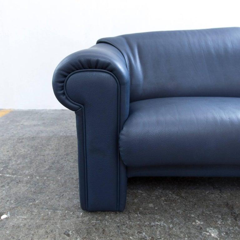 br hl and sippold designer sofa leather blue twoseater. Black Bedroom Furniture Sets. Home Design Ideas