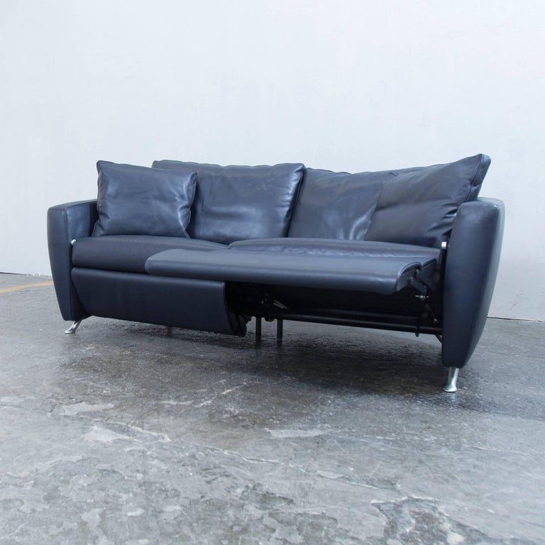 Fsm Designer Sofa Leather Blue Two-Seat Couch Relax Function Modern ...