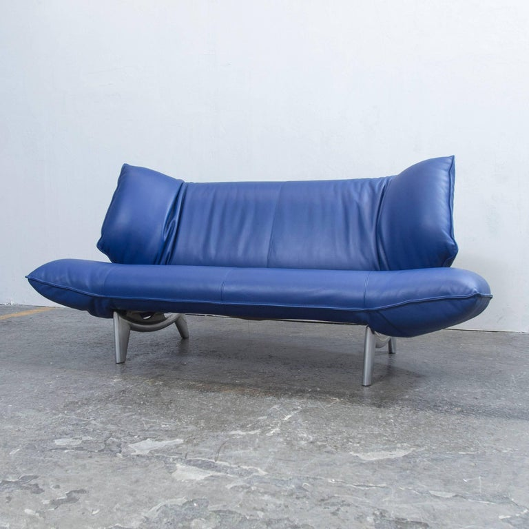 leolux tango designer leather sofa blue three seat. Black Bedroom Furniture Sets. Home Design Ideas