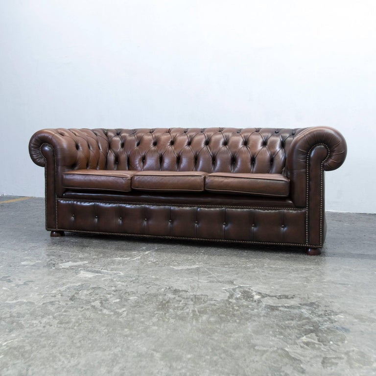 Chesterfield Sofa Brown Leather Three Seat Couch Retro Vintage At 1stdibs