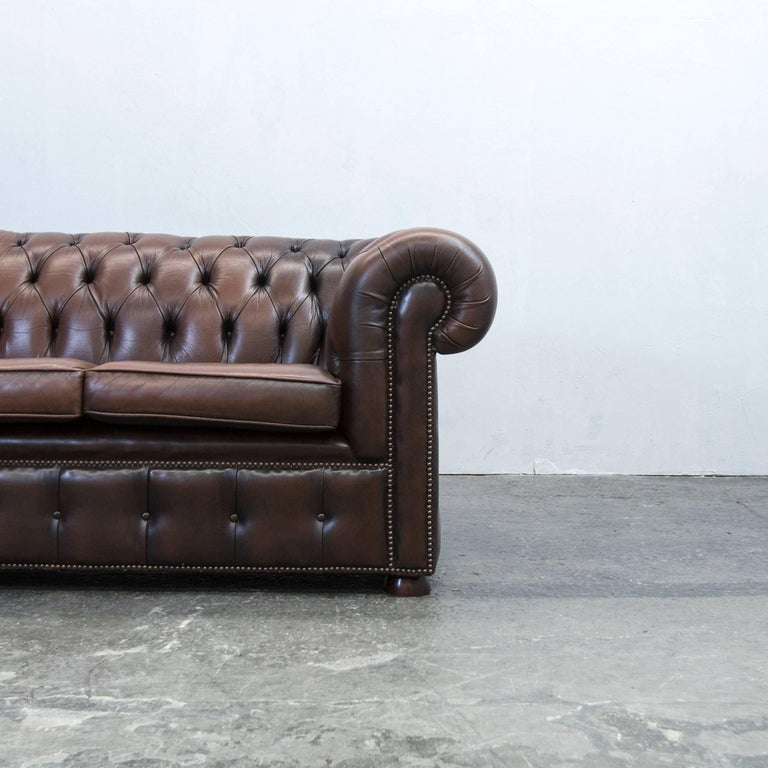 Chesterfield Sofa Brown Leather Three Seat Couch Retro