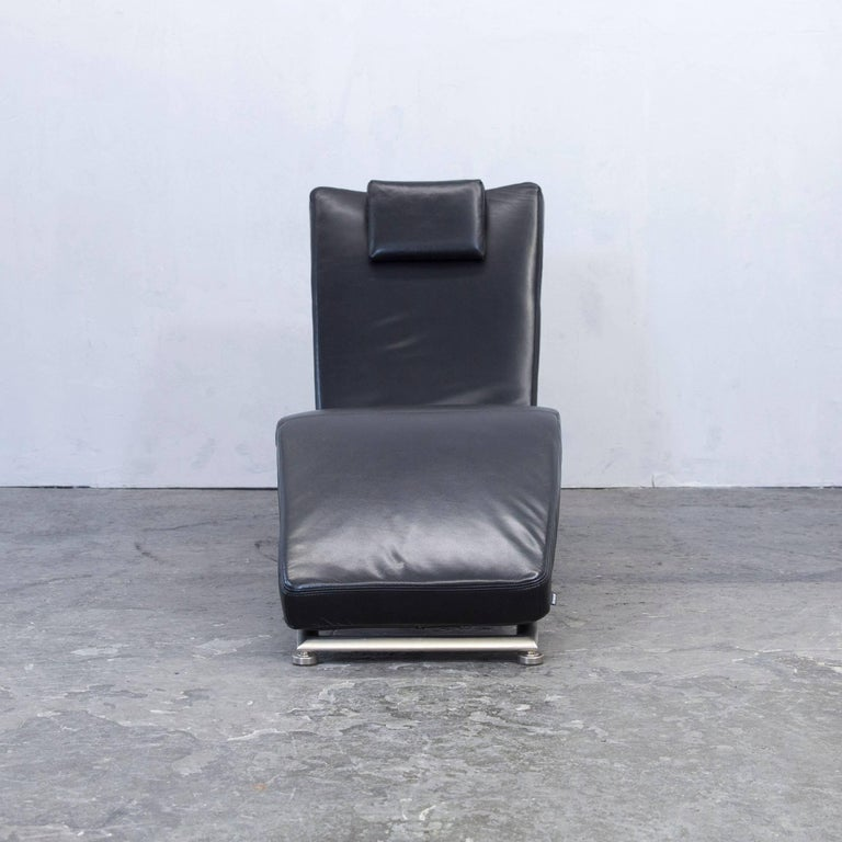 Recamiere chaiselongue  Koinor Designer Chaise Longue Leather Black Recamiere Chair ...
