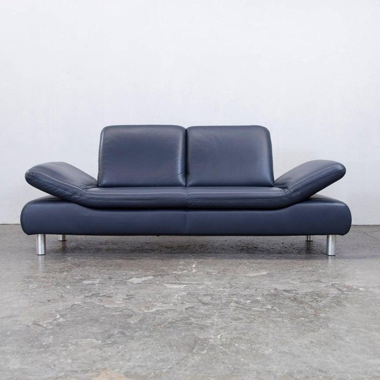 koinor rossini designer sofa leather blue three seat function modern at 1stdibs. Black Bedroom Furniture Sets. Home Design Ideas