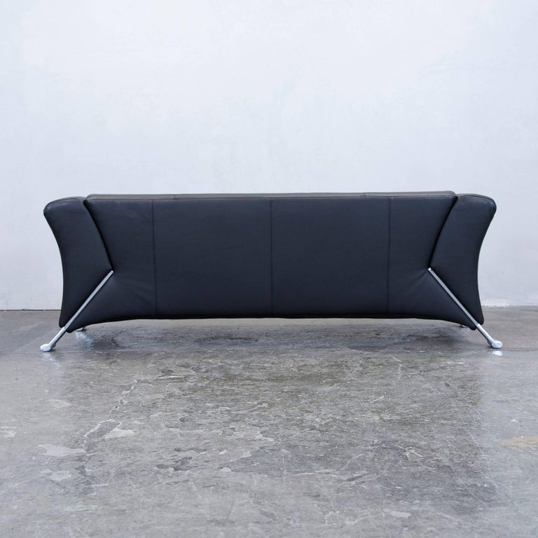 Rolf Benz 322 Designer Leather Sofa Black Three-Seat Couch Modern at ...