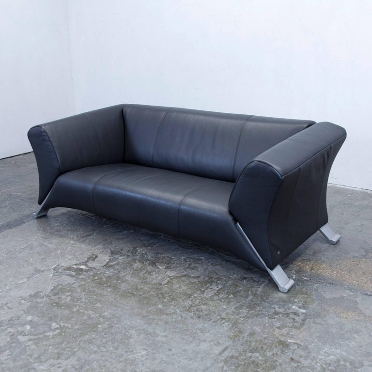 Rolf Benz 322 Designer Leather Sofa Black Two Seat Couch