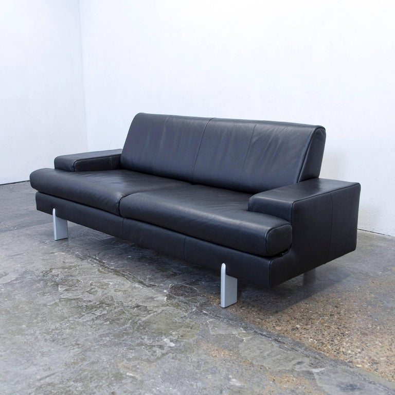 Rolf Benz Bmp Designer Sofa Leather Black Three Seat Couch