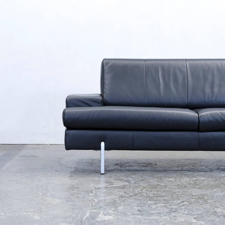 Designer couch  Rolf Benz Bmp Designer Sofa Leather Black Two-Seat Couch Modern at ...