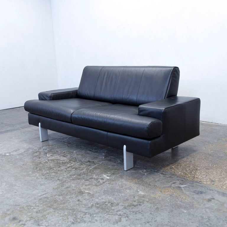 Rolf Benz Bmp Designer Sofa Leather Black Two Seat Couch
