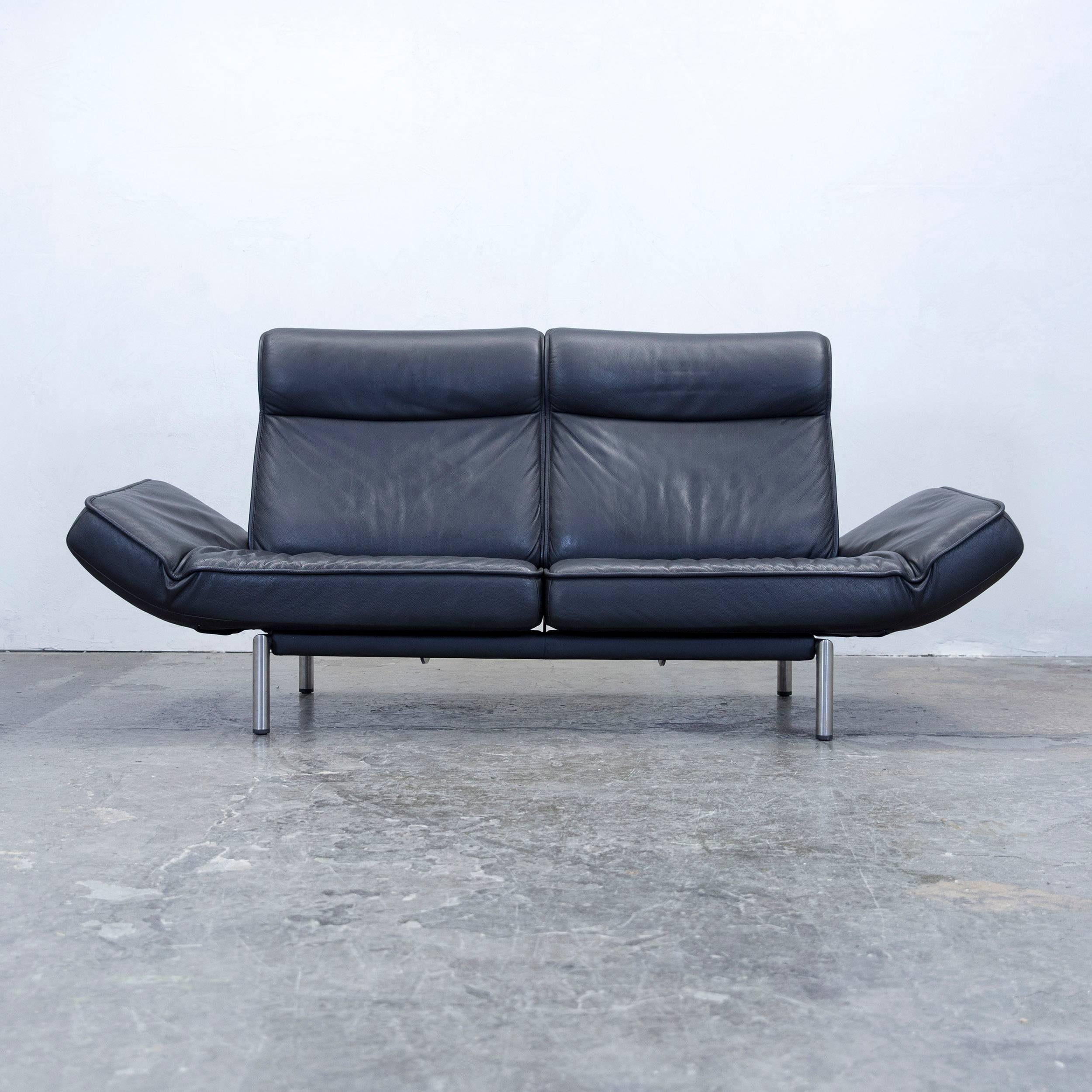 De Sede Ds Designer Leather Sofa Black Relax Function Twoseat Modern With  Couch Schwarz