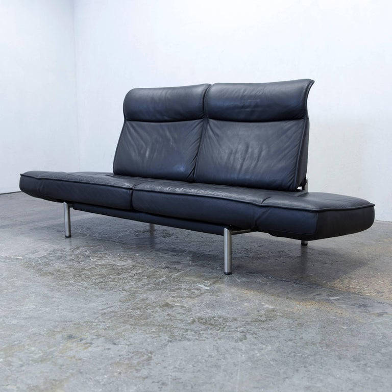 Swiss De Sede DS 450 Designer Leather Sofa Black Relax Function Two-seat Modern For Sale