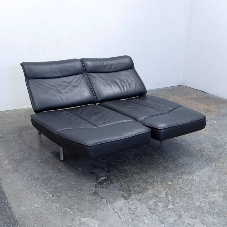 De Sede DS 450 Designer Leather Sofa Black Relax Function Two-seat Modern In Good Condition For Sale In Cologne, DE