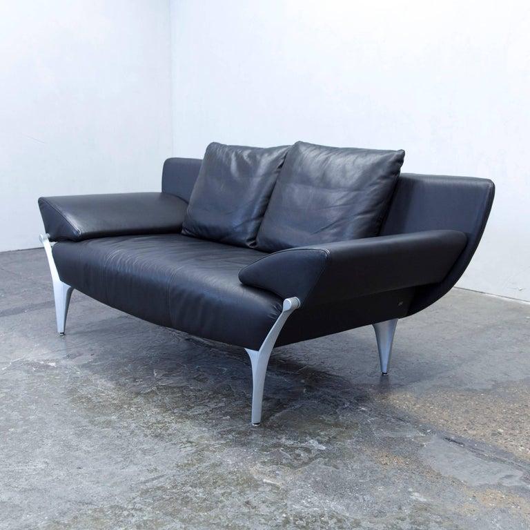rolf benz 1600 designer sofa leather black two seat function couch modern at 1stdibs. Black Bedroom Furniture Sets. Home Design Ideas