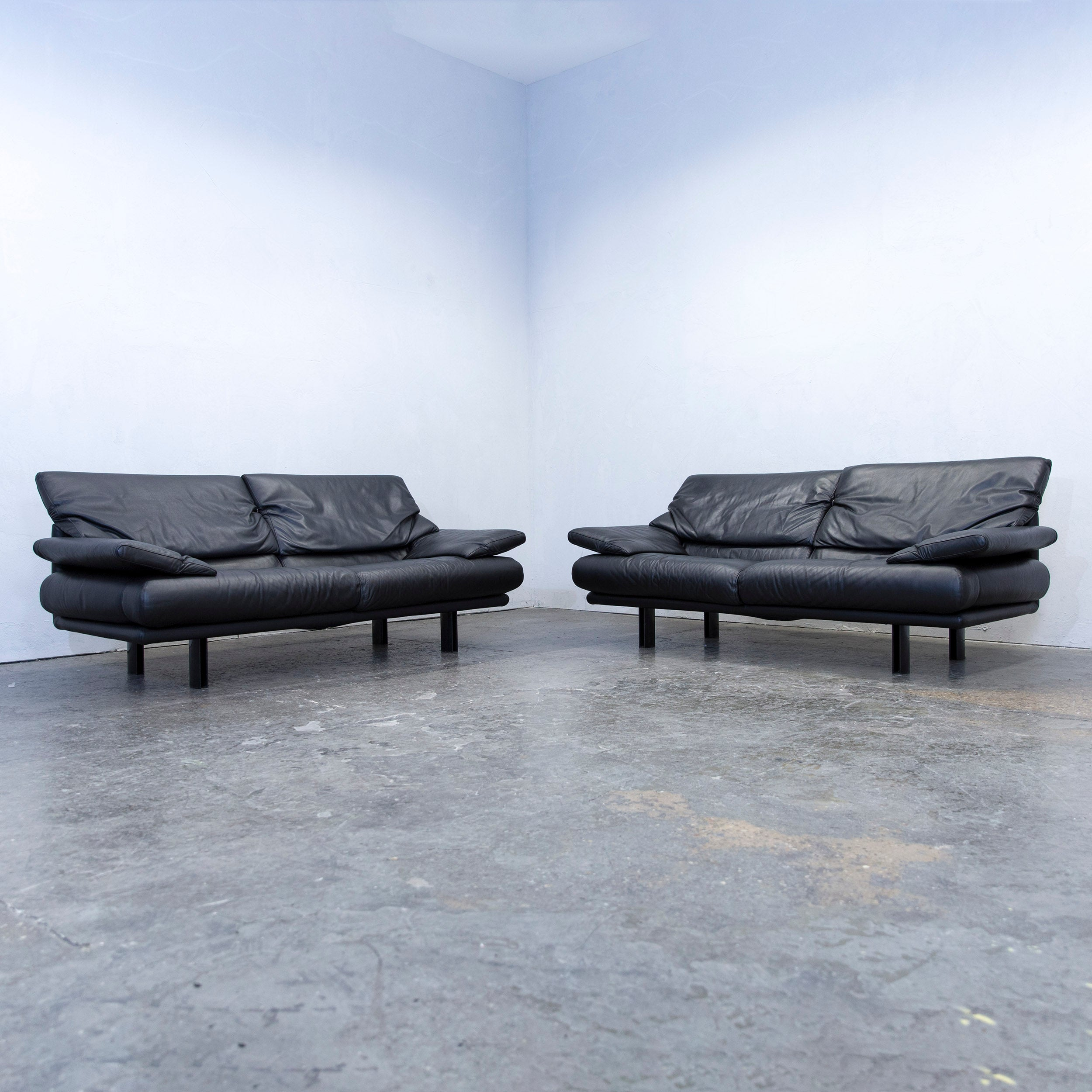 B B Italia Alanda Designer Sofa Leather Black Two Seat Function