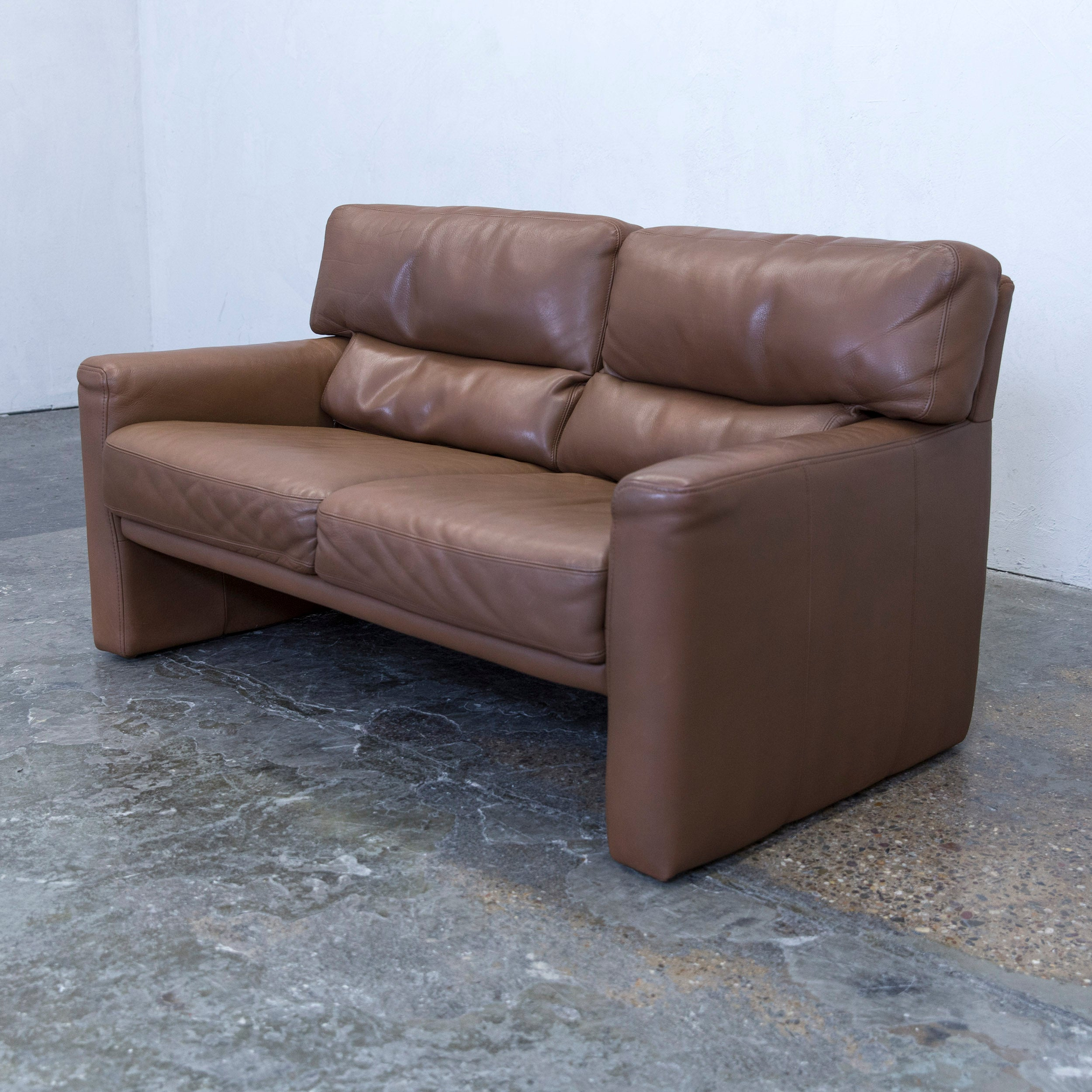 Bruhl And Sippold Designer Sofa Leather Brown Two Seat Couch Modern
