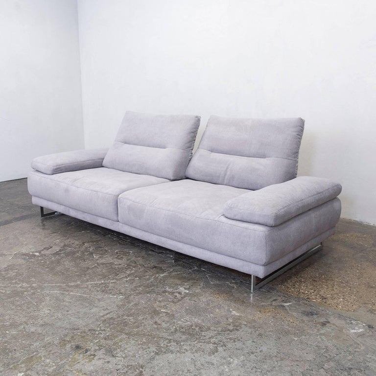 Sofa modern stoff  K+W Polstermöbel Designer Leather Sofa Fabric Grey Thre-Seat Couch ...