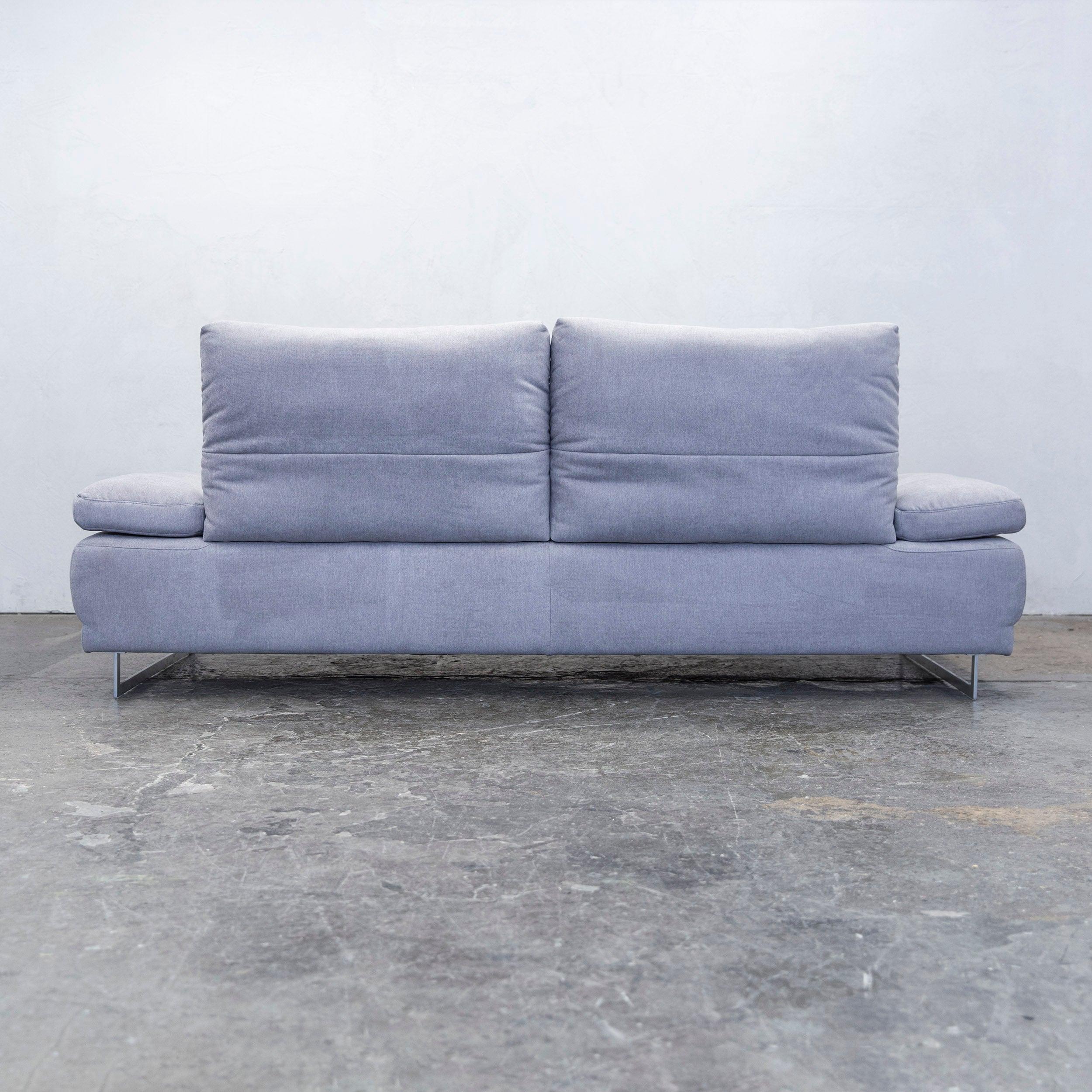 K+W Polstermöbel Designer Leather Sofa Fabric Grey Thre-Seat Couch ...
