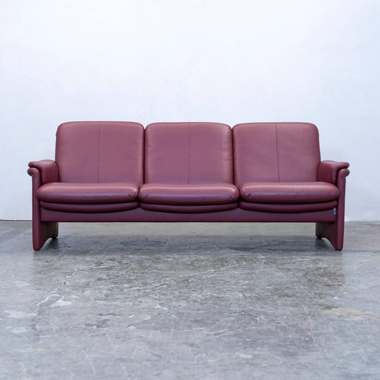 Erpo Designer Sofa Leather Red Three Seat Function Couch