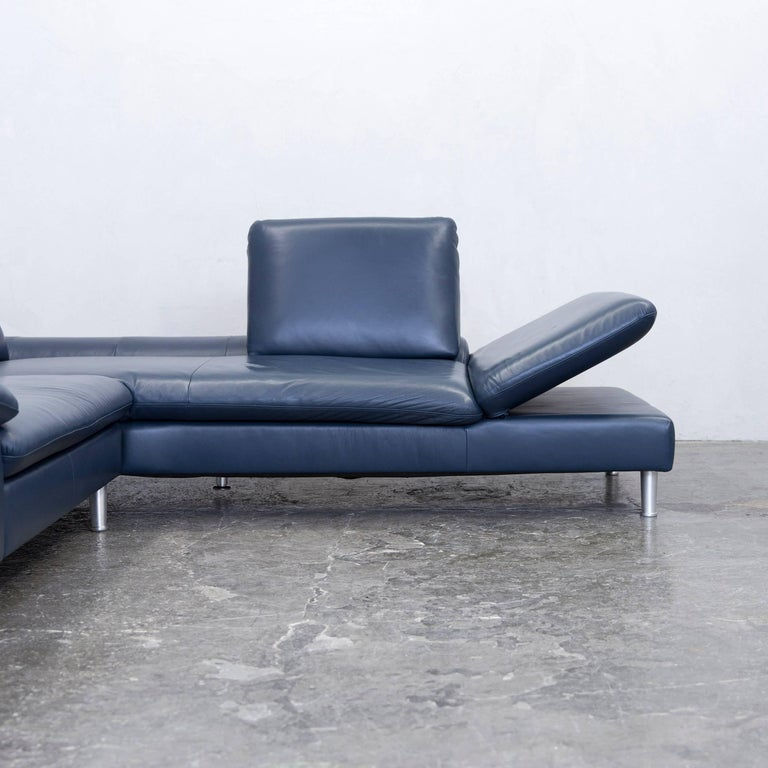 willi schillig designer corner sofa leather blue function. Black Bedroom Furniture Sets. Home Design Ideas