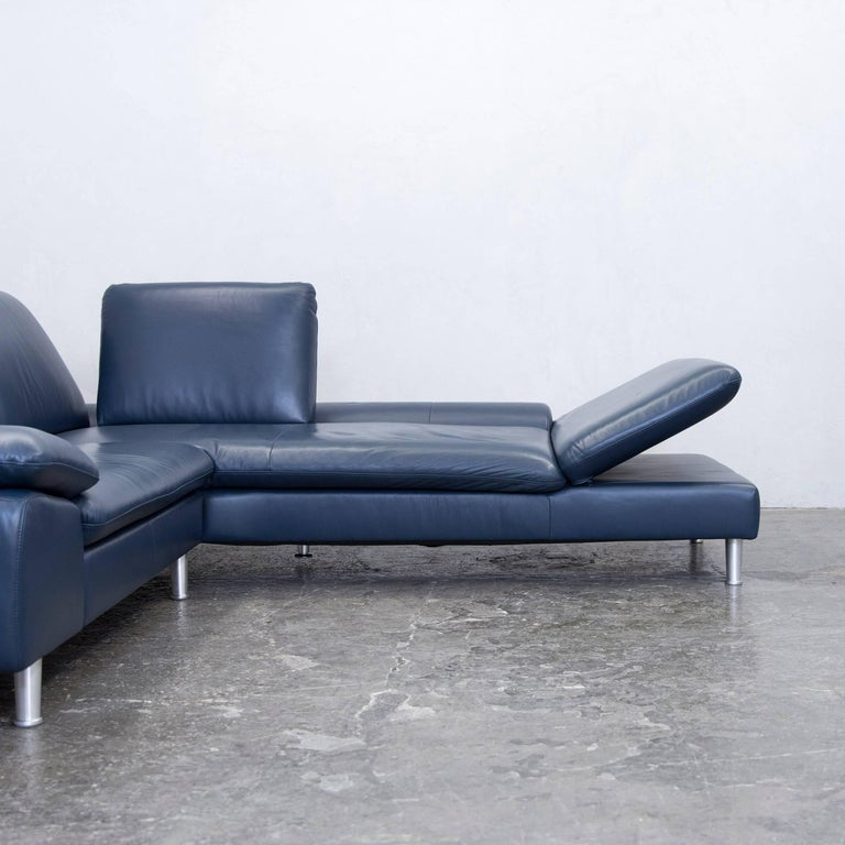 Willi Schillig Designer Corner Sofa Leather Blue Function Couch Modern At 1stdibs