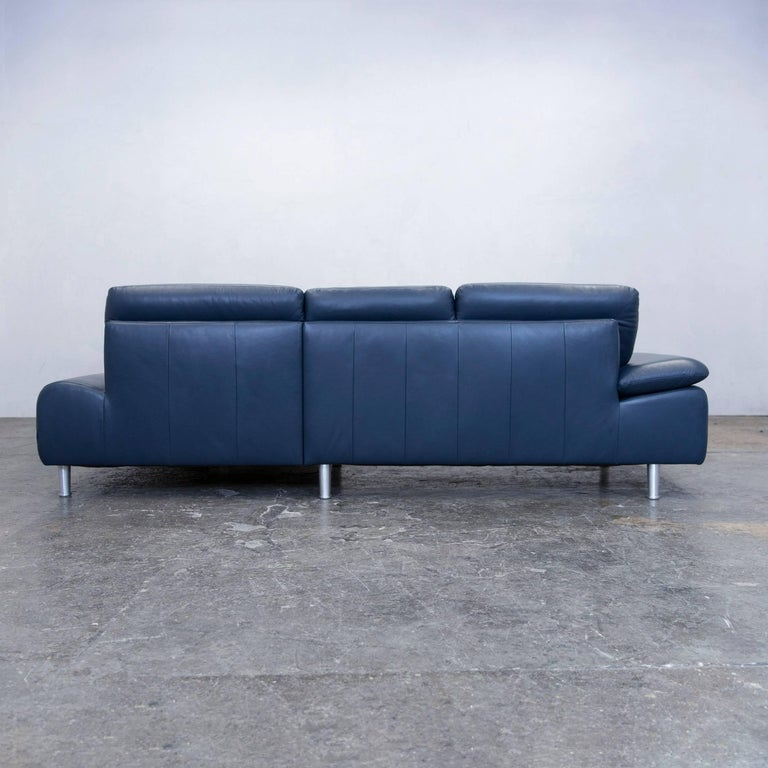 willi schillig designer corner sofa leather blue function couch modern at 1stdibs. Black Bedroom Furniture Sets. Home Design Ideas